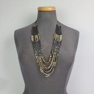 Stella & Dot Black & Gold Chain Necklace